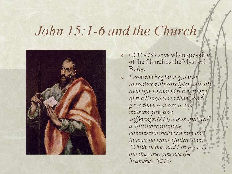 John 15:1-6 and the Church CCC #787 says when speaking of the Church as the Mystical Body: From the beginning, Jesus associated his disciples with his own life, revealed the mystery of the Kingdom to them, and gave them a share in his mission, joy, and sufferings.(215) Jesus spoke of a still more intimate communion between him and those who would follow him: Abide in me, and I in you....