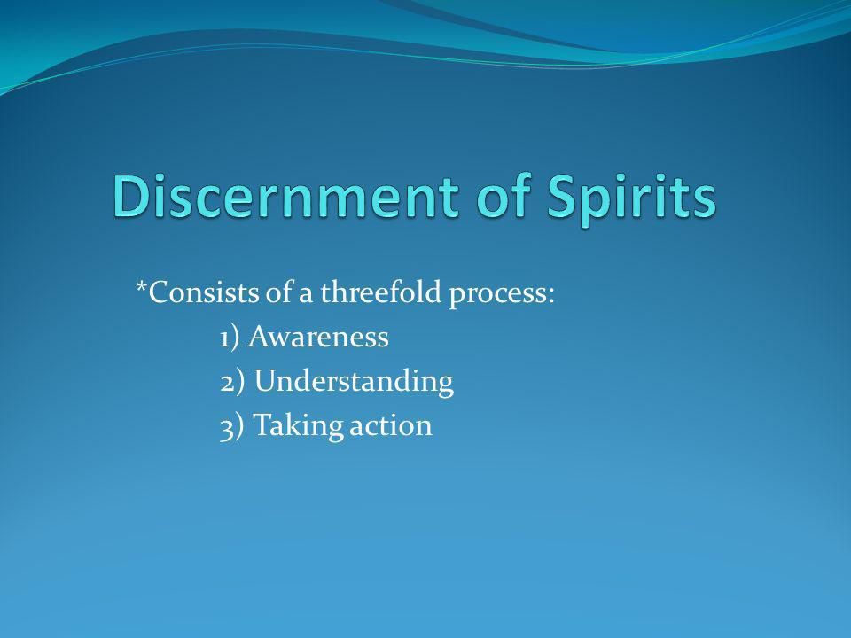 *Consists of a threefold process: 1) Awareness 2) Understanding 3) Taking action
