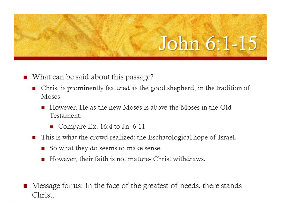 John 6:1-15 What can be said about this passage? Christ is prominently featured as the good shepherd, in the tradition of Moses However, He as the new