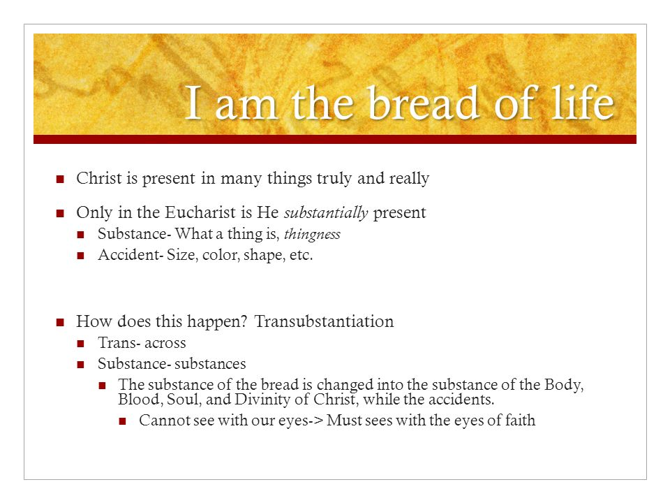 I am the bread of life Christ is present in many things truly and really Only in the Eucharist is He substantially present Substance- What a thing is,