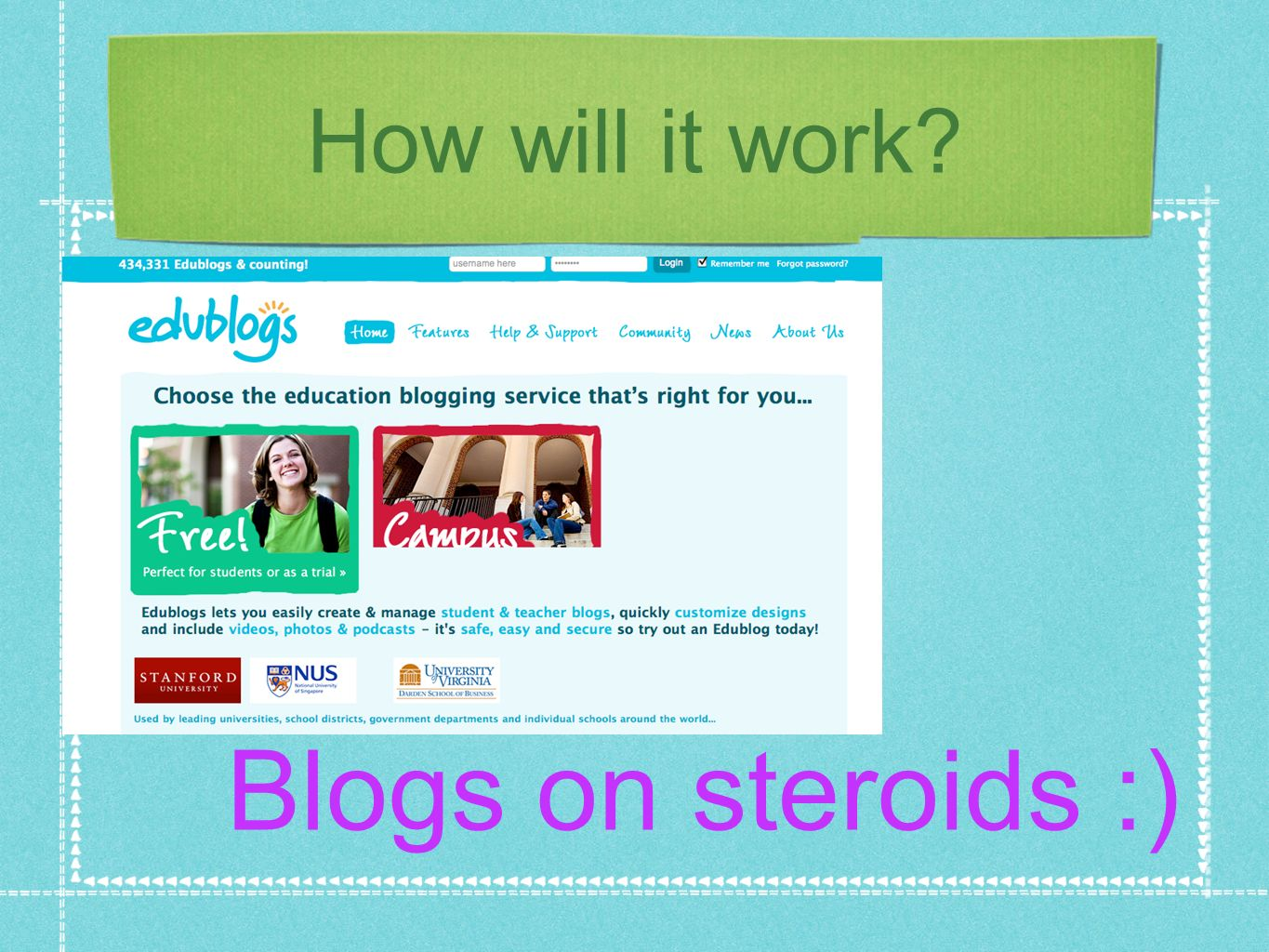 How will it work Blogs on steroids :)