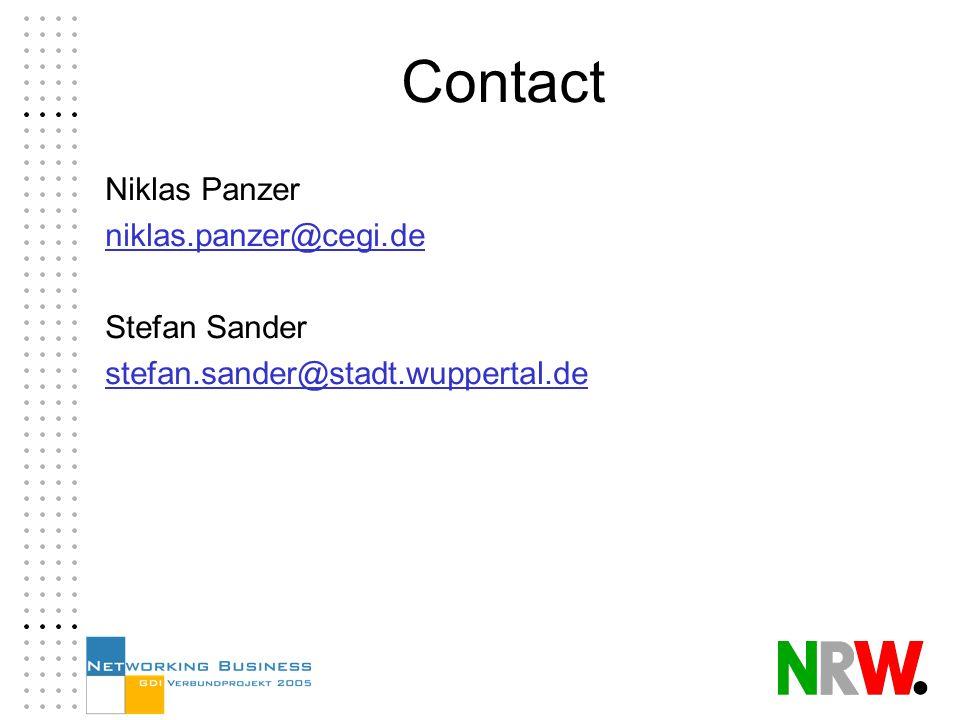 Contact Niklas Panzer niklas.panzer@cegi.de Stefan Sander stefan.sander@stadt.wuppertal.de