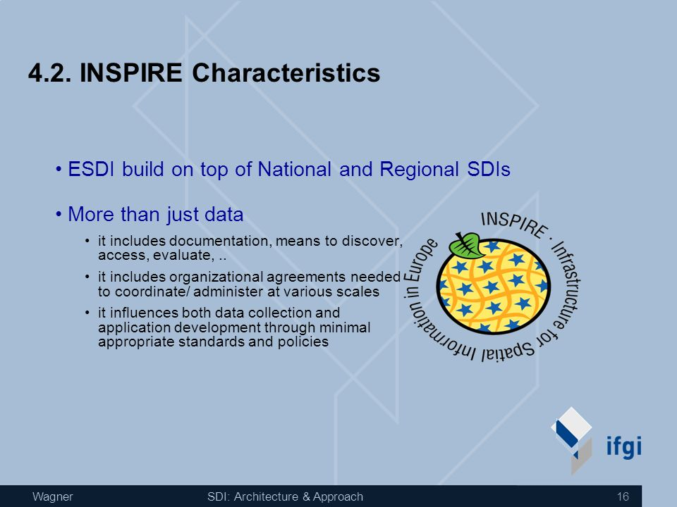 WagnerSDI: Architecture & Approach 15 4.1. Relevant Player INSPIRE More: http://inspire.jrc.it OpenGeoSpatial Consortium More: http://www.opengeospati