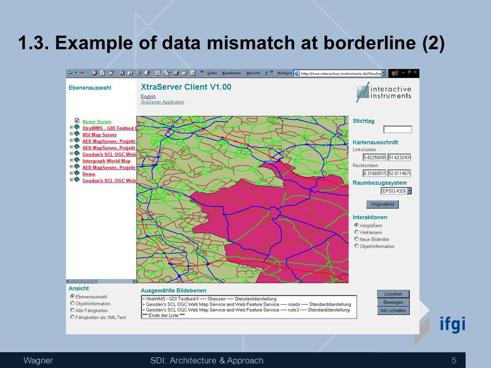 WagnerSDI: Architecture & Approach 4 1.2. Example of data mismatch at borderline (1) Discrepancies in Transport Network Data between Northern Ireland