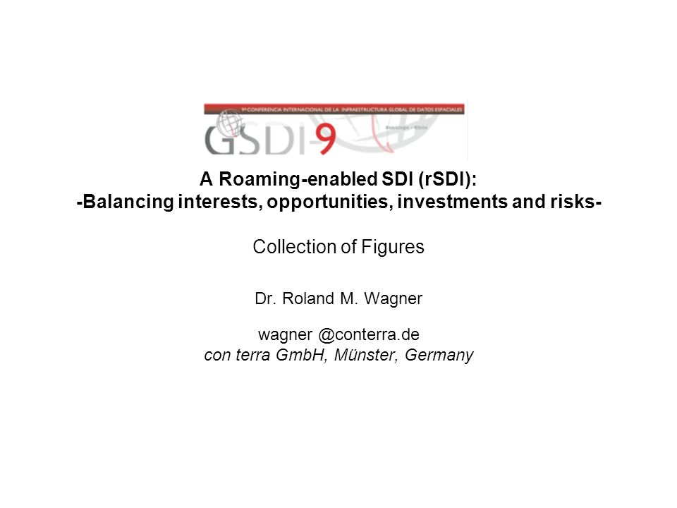 A Roaming-enabled SDI (rSDI): -Balancing interests, opportunities, investments and risks- Collection of Figures Dr.
