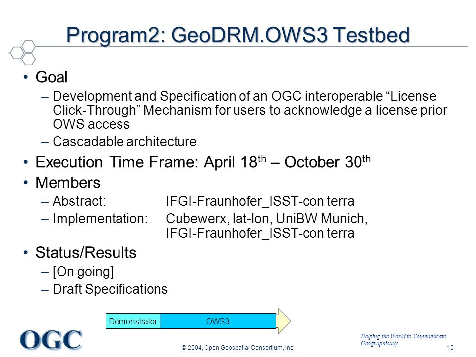 Helping the World to Communicate Geographically © 2004, Open Geospatial Consortium, Inc.10 OWS3 Program2: GeoDRM.OWS3 Testbed Goal –Development and Sp