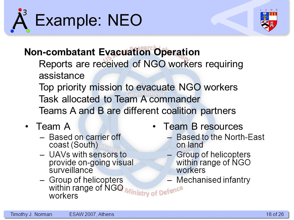 Timothy J. Norman Example: NEO Non-combatant Evacuation Operation Reports are received of NGO workers requiring assistance Top priority mission to eva
