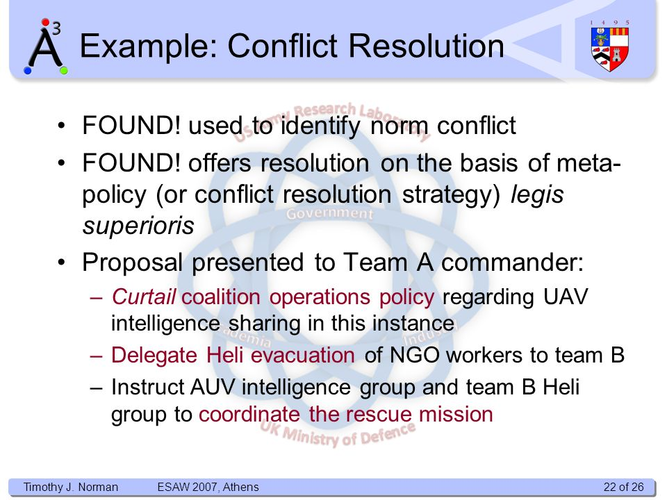 Timothy J. Norman Example: Conflict Resolution FOUND! used to identify norm conflict FOUND! offers resolution on the basis of meta- policy (or conflic