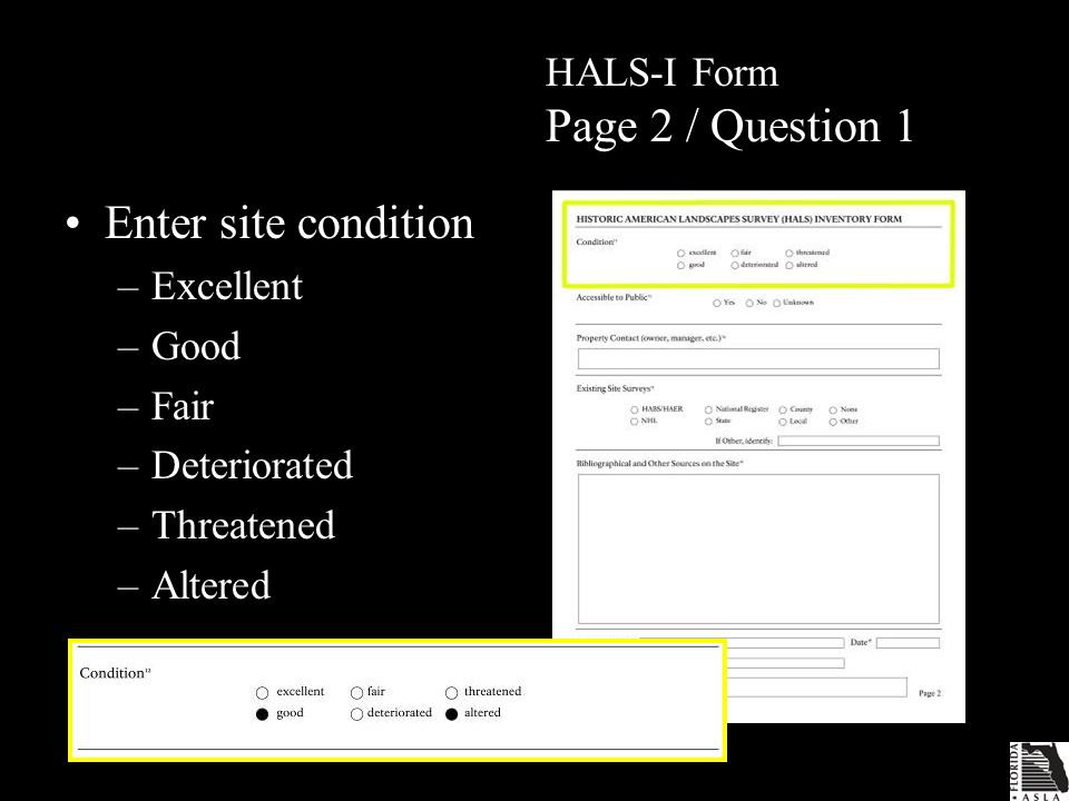 HALS-I Form Page 2 / Question 1 Enter site condition –Excellent –Good –Fair –Deteriorated –Threatened –Altered