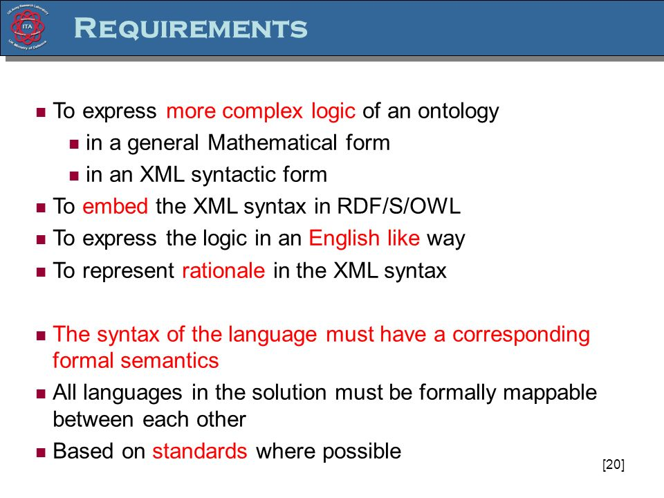 [20] To express more complex logic of an ontology in a general Mathematical form in an XML syntactic form To embed the XML syntax in RDF/S/OWL To express the logic in an English like way To represent rationale in the XML syntax The syntax of the language must have a corresponding formal semantics All languages in the solution must be formally mappable between each other Based on standards where possible Requirements