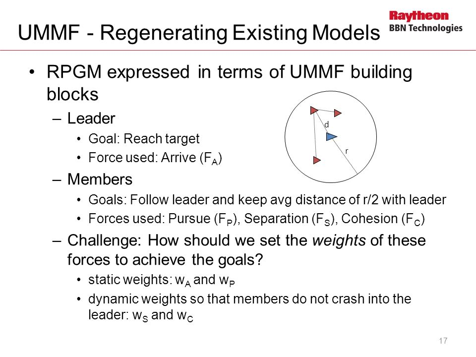 RPGM expressed in terms of UMMF building blocks –Leader Goal: Reach target Force used: Arrive (F A ) –Members Goals: Follow leader and keep avg distance of r/2 with leader Forces used: Pursue (F P ), Separation (F S ), Cohesion (F C ) –Challenge: How should we set the weights of these forces to achieve the goals.