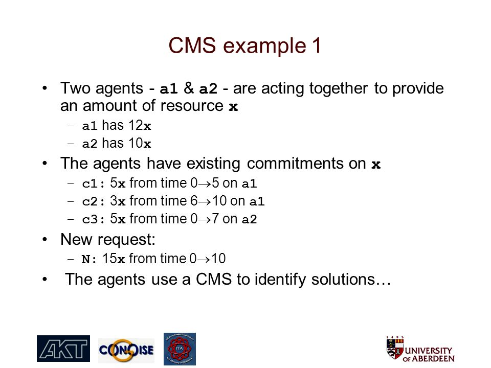 CMS example 1 Two agents - a1 & a2 - are acting together to provide an amount of resource x –a1 has 12 x –a2 has 10 x The agents have existing commitments on x –c1: 5 x from time 0 5 on a1 –c2: 3 x from time 6 10 on a1 –c3: 5 x from time 0 7 on a2 New request: –N: 15 x from time 0 10 The agents use a CMS to identify solutions…