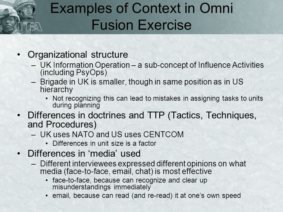 Examples of Context in Omni Fusion Exercise Organizational structure –UK Information Operation – a sub-concept of Influence Activities (including PsyO