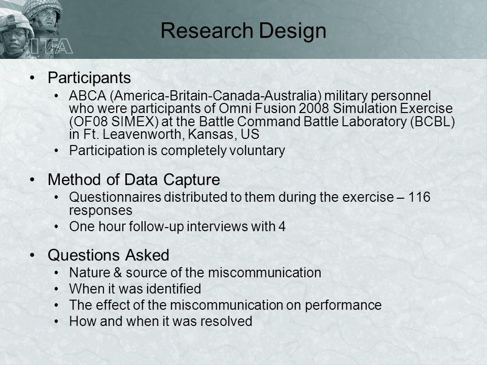 Research Design Participants ABCA (America-Britain-Canada-Australia) military personnel who were participants of Omni Fusion 2008 Simulation Exercise