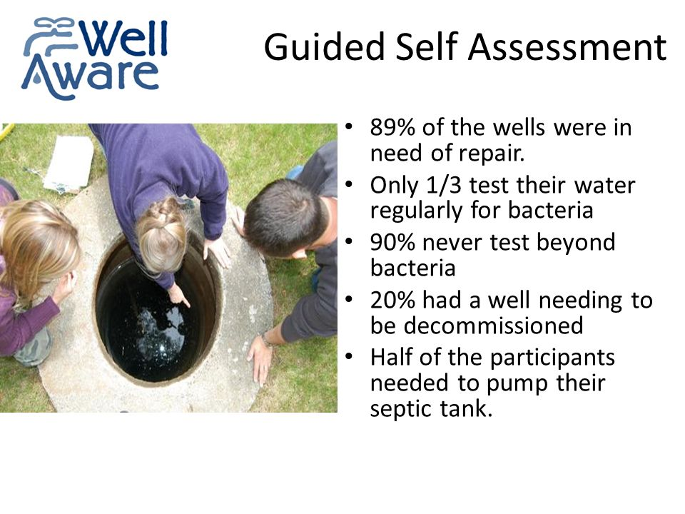 Guided Self Assessment 89% of the wells were in need of repair.
