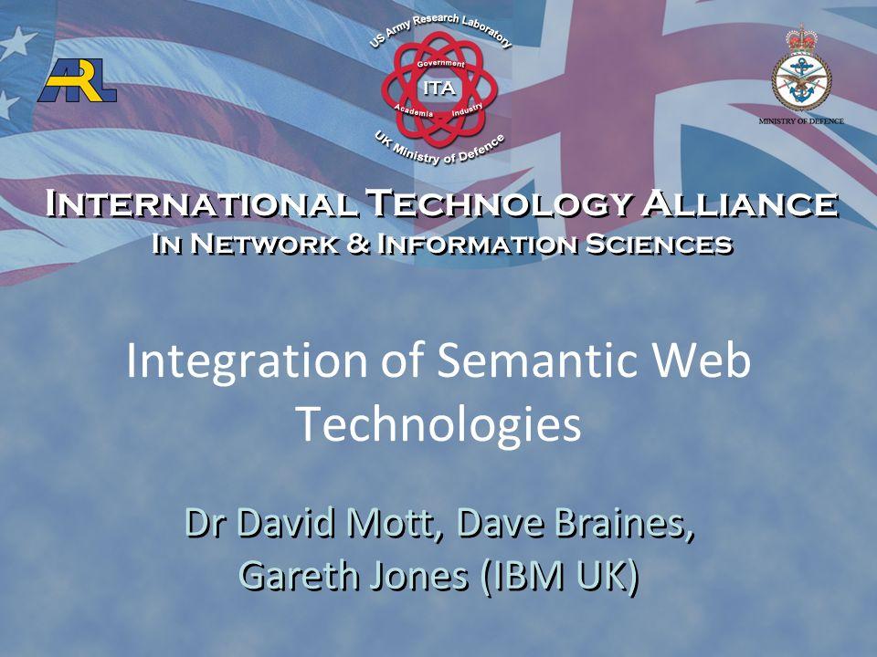 Integration of Semantic Web Technologies Dr David Mott, Dave Braines, Gareth Jones (IBM UK) International Technology Alliance In Network & Information Sciences International Technology Alliance In Network & Information Sciences