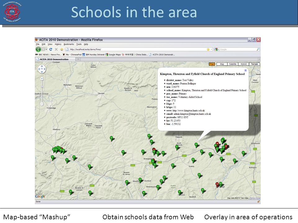 Schools in the area Map-based MashupObtain schools data from WebOverlay in area of operations
