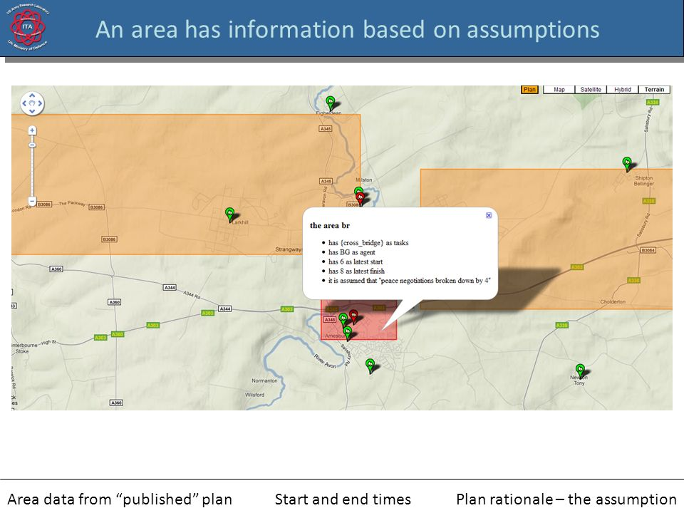 An area has information based on assumptions Area data from published planStart and end timesPlan rationale – the assumption