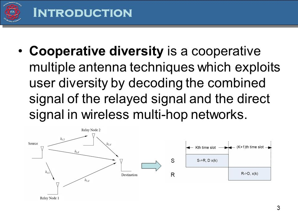 Introduction Cooperative diversity is a cooperative multiple antenna techniques which exploits user diversity by decoding the combined signal of the relayed signal and the direct signal in wireless multi-hop networks.