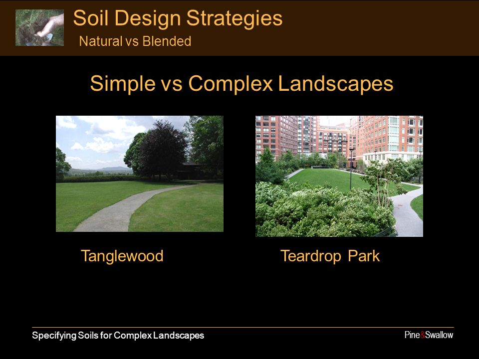 Simple vs Complex Landscapes Specifying Soils for Complex Landscapes Pine&Swallow Soil Design Strategies Natural vs Blended TanglewoodTeardrop Park
