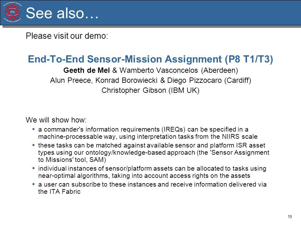 19 See also… Please visit our demo: End-To-End Sensor-Mission Assignment (P8 T1/T3) Geeth de Mel & Wamberto Vasconcelos (Aberdeen) Alun Preece, Konrad