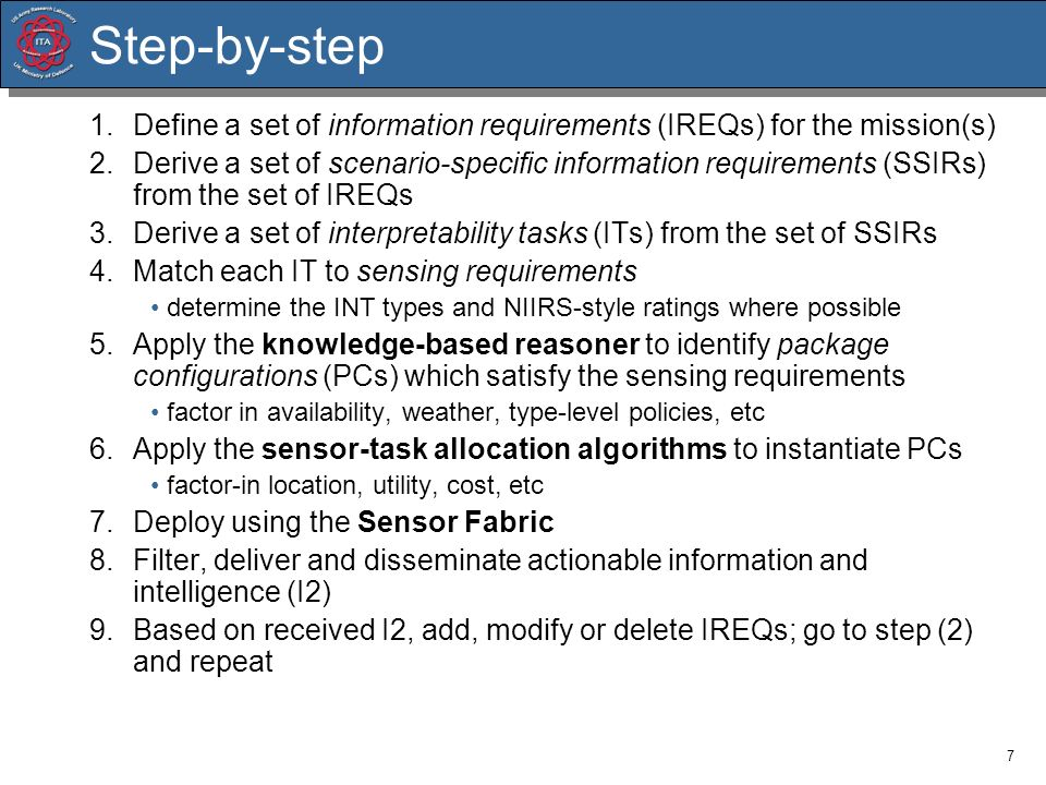 7 Step-by-step 1.Define a set of information requirements (IREQs) for the mission(s) 2.Derive a set of scenario-specific information requirements (SSI