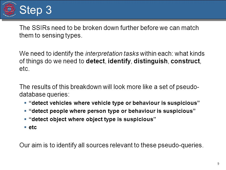 9 Step 3 The SSIRs need to be broken down further before we can match them to sensing types. We need to identify the interpretation tasks within each: