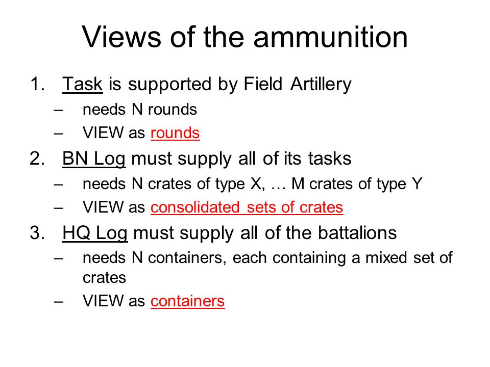 Views of the ammunition 1.Task is supported by Field Artillery –needs N rounds –VIEW as rounds 2.BN Log must supply all of its tasks –needs N crates o