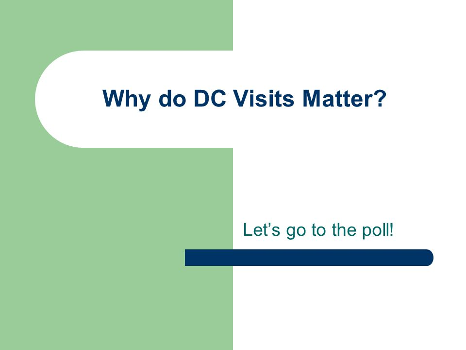 Why do DC Visits Matter? Lets go to the poll!