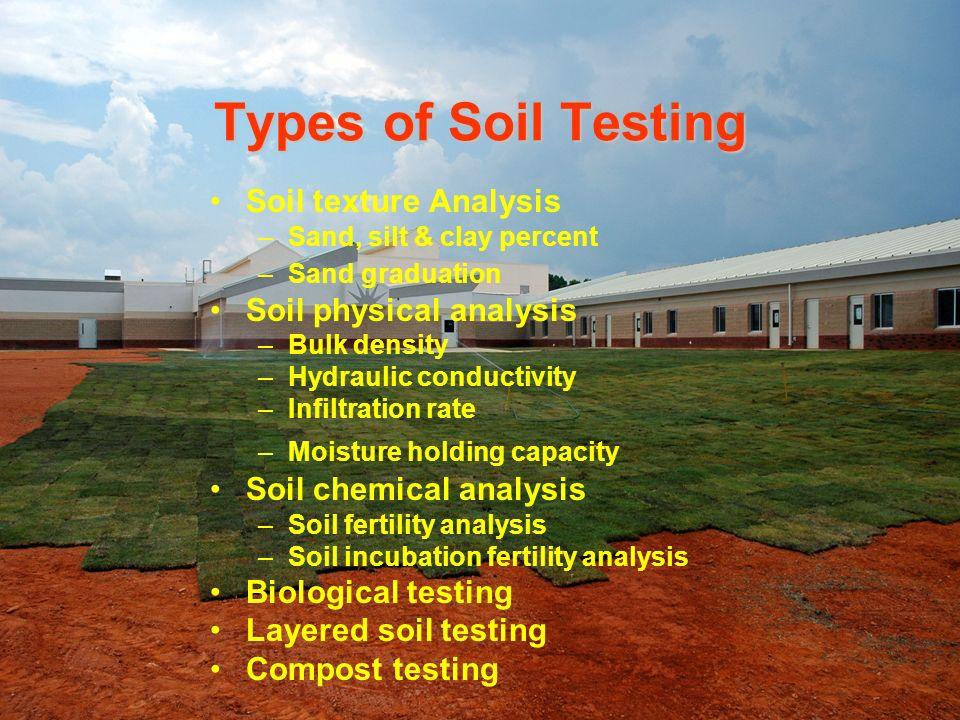 Types of Soil Testing Soil texture Analysis –Sand, silt & clay percent –Sand graduation Soil physical analysis –Bulk density –Hydraulic conductivity –