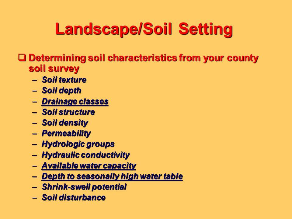 Landscape/Soil Setting Determining soil characteristics from your county soil survey Determining soil characteristics from your county soil survey –So
