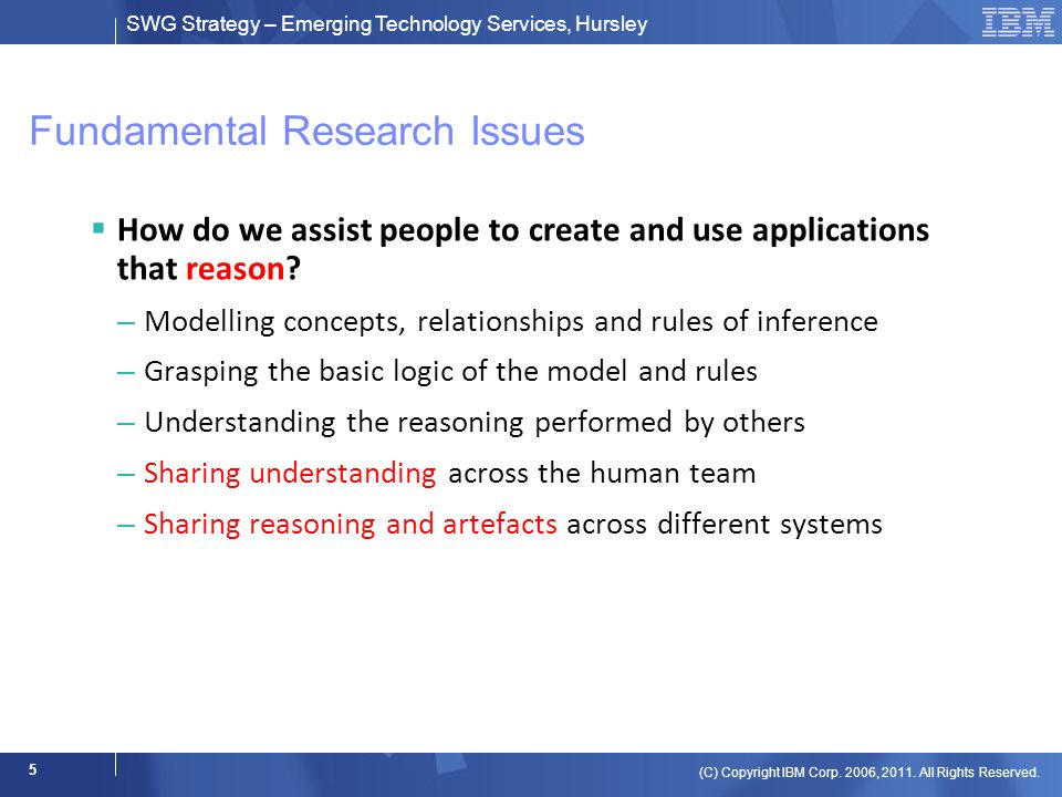SWG Strategy – Emerging Technology Services, Hursley (C) Copyright IBM Corp. 2006, 2011. All Rights Reserved. 5 Fundamental Research Issues How do we
