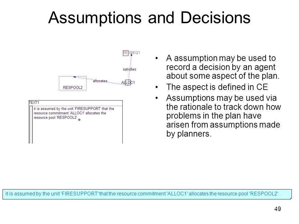 49 Assumptions and Decisions A assumption may be used to record a decision by an agent about some aspect of the plan.