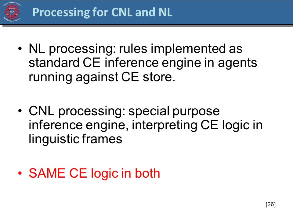 [26] Processing for CNL and NL NL processing: rules implemented as standard CE inference engine in agents running against CE store.