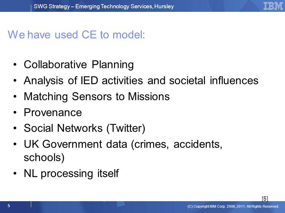 SWG Strategy – Emerging Technology Services, Hursley (C) Copyright IBM Corp. 2006, 2011. All Rights Reserved. 5 We have used CE to model: [5] Collabor