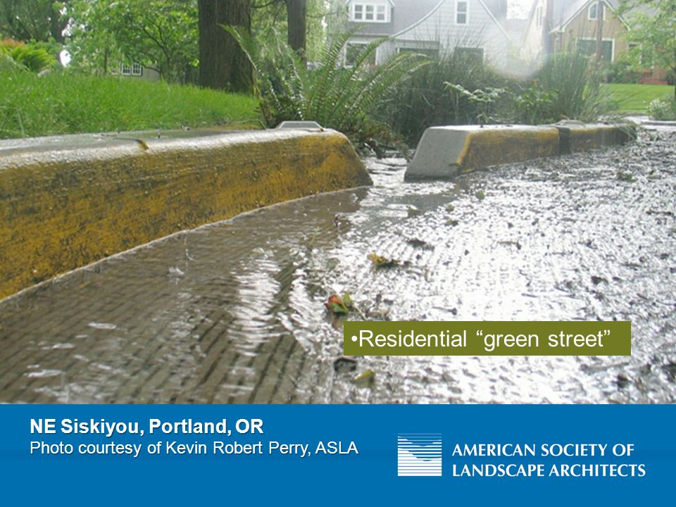 NE Siskiyou, Portland, OR Photo courtesy of Kevin Robert Perry, ASLA Residential green street