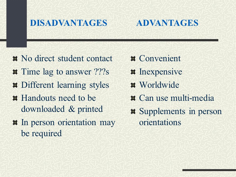 No direct student contact Time lag to answer ???s Different learning styles Handouts need to be downloaded & printed In person orientation may be required Convenient Inexpensive Worldwide Can use multi-media Supplements in person orientations DISADVANTAGESADVANTAGES