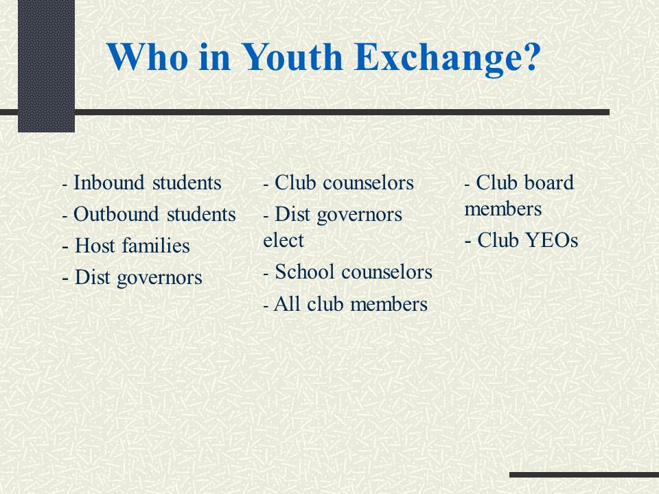 - Inbound students - Outbound students - Host families - Dist governors - Club counselors - Dist governors elect - School counselors - All club members - Club board members - Club YEOs Who in Youth Exchange