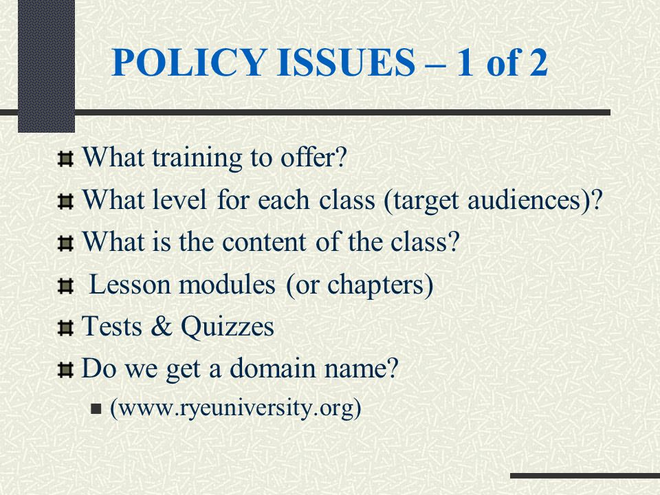 POLICY ISSUES – 1 of 2 What training to offer? What level for each class (target audiences)? What is the content of the class? Lesson modules (or chap