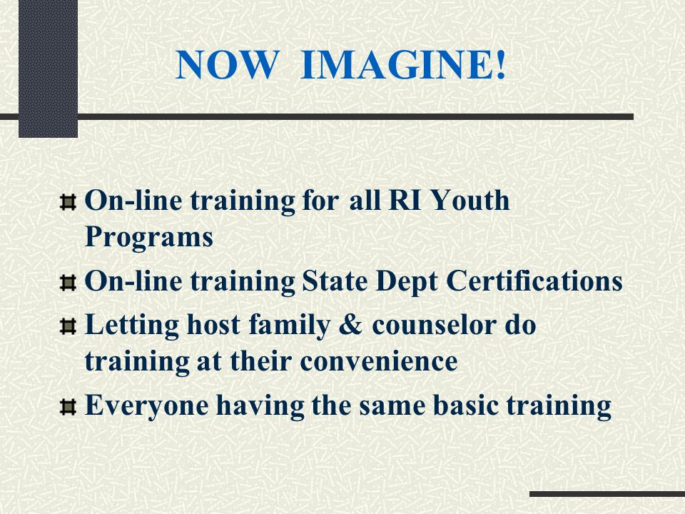 On-line training for all RI Youth Programs On-line training State Dept Certifications Letting host family & counselor do training at their convenience Everyone having the same basic training NOW IMAGINE!