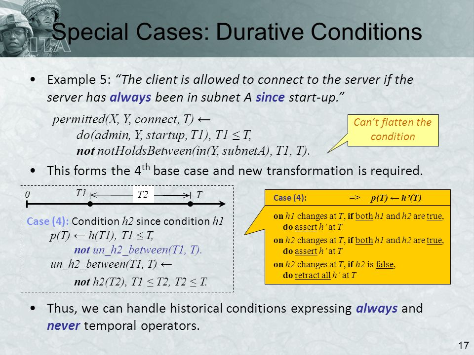 Special Cases: Durative Conditions 17 Example 5: The client is allowed to connect to the server if the server has always been in subnet A since start-up.