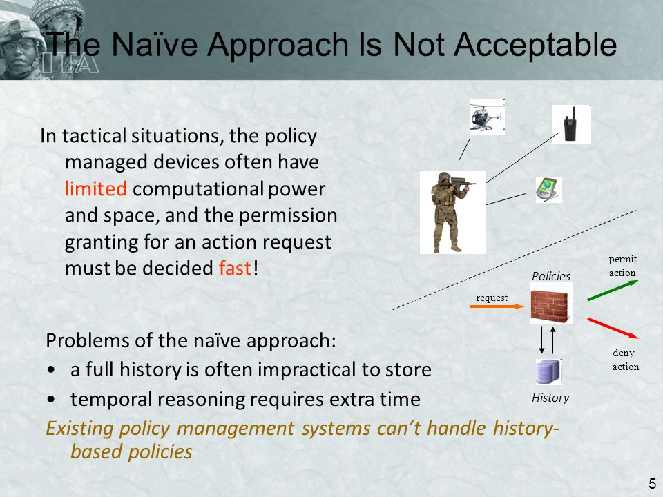 The Naïve Approach Is Not Acceptable 5 In tactical situations, the policy managed devices often have limited computational power and space, and the permission granting for an action request must be decided fast.