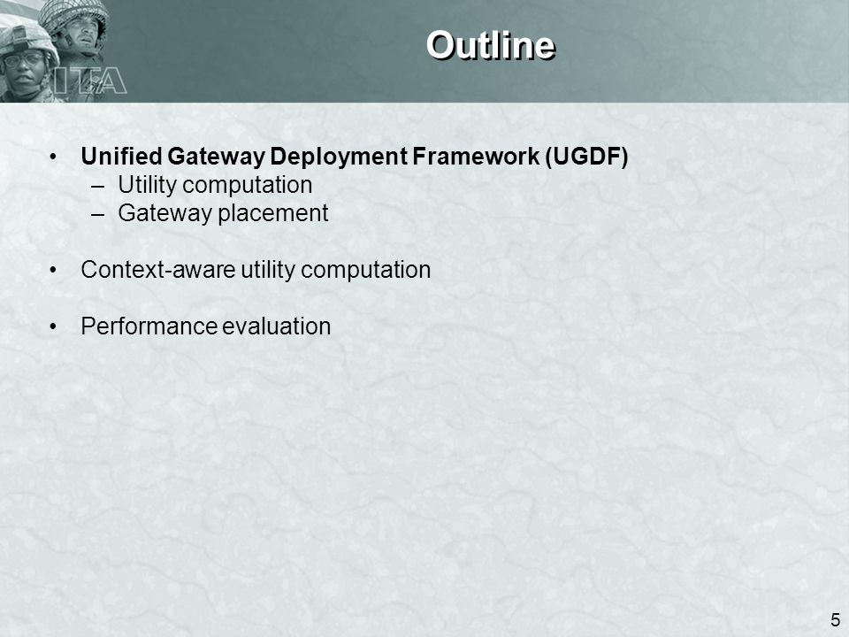6 Unified Gateway Deployment Framework (UGDF) Utility computation: Decomposition + domain-specific calculation –Utility decomposition: U global = Σ domain i.j λ ij [ Σ ρ p ( Σ hop k U k )] λ ij : inter-domain traffic demand; ρ p : load factor (for inter-domain routing) –Per-hop utility calculation: domain-specific –Note: Utilities in different domains should be independent (guaranteed by networked gateways) Utility computation Gateway placement Domain knowledge, Performance criteria U(L) L* = argmax L U(L) s.t.