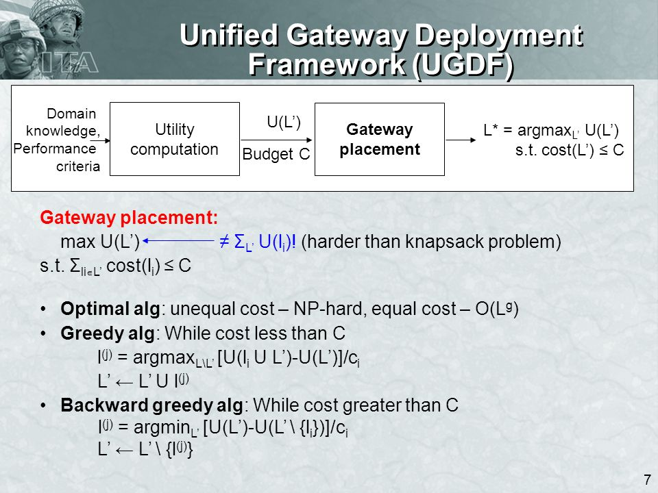 8 Unified Gateway Deployment Framework (UGDF) 8 Gateway placement (contd): max U(L) s.t.