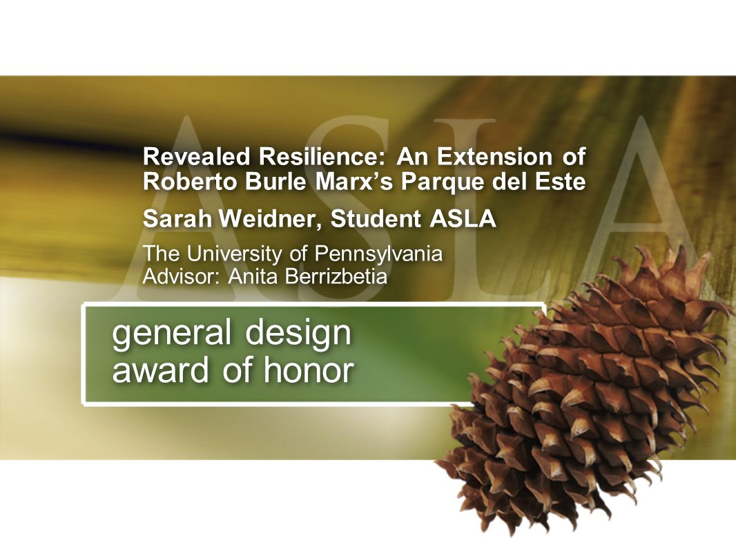 general design award of honor Revealed Resilience: An Extension of Roberto Burle Marxs Parque del Este Sarah Weidner, Student ASLA The University of P