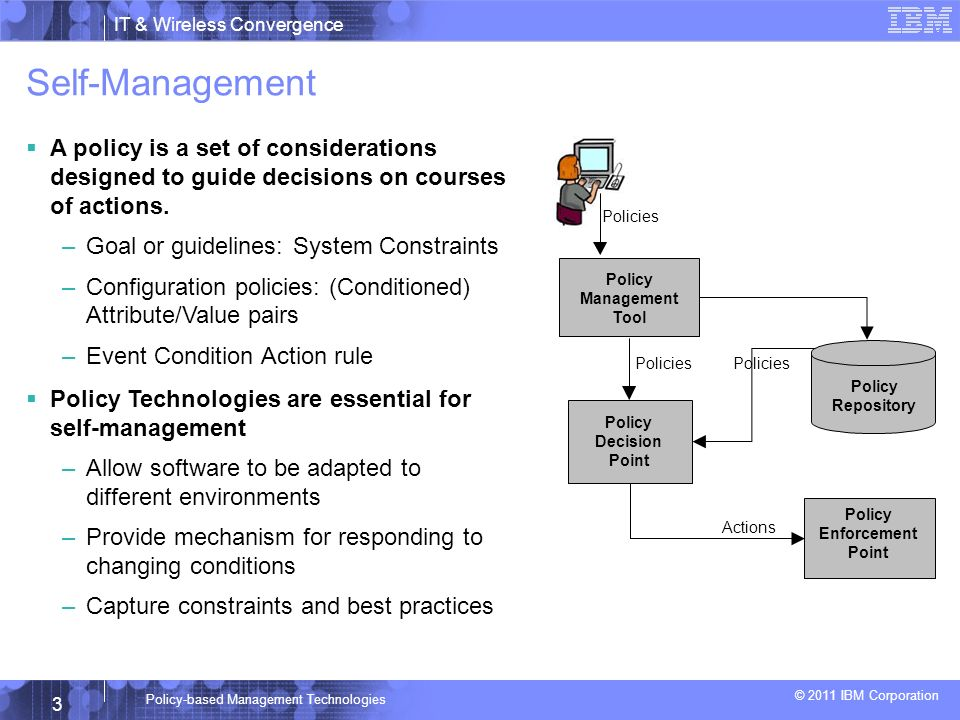 IT & Wireless Convergence © 2011 IBM Corporation 3 Policy-based Management Technologies Self-Management A policy is a set of considerations designed to guide decisions on courses of actions.