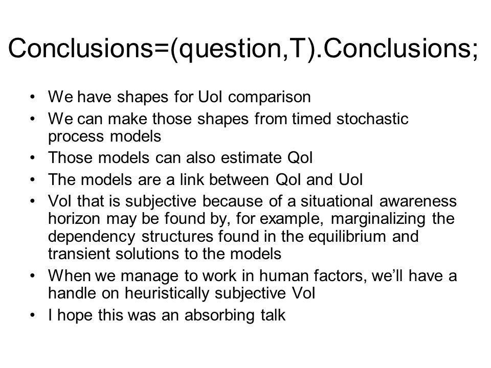 Conclusions=(question,T).Conclusions; We have shapes for UoI comparison We can make those shapes from timed stochastic process models Those models can also estimate QoI The models are a link between QoI and UoI VoI that is subjective because of a situational awareness horizon may be found by, for example, marginalizing the dependency structures found in the equilibrium and transient solutions to the models When we manage to work in human factors, well have a handle on heuristically subjective VoI I hope this was an absorbing talk