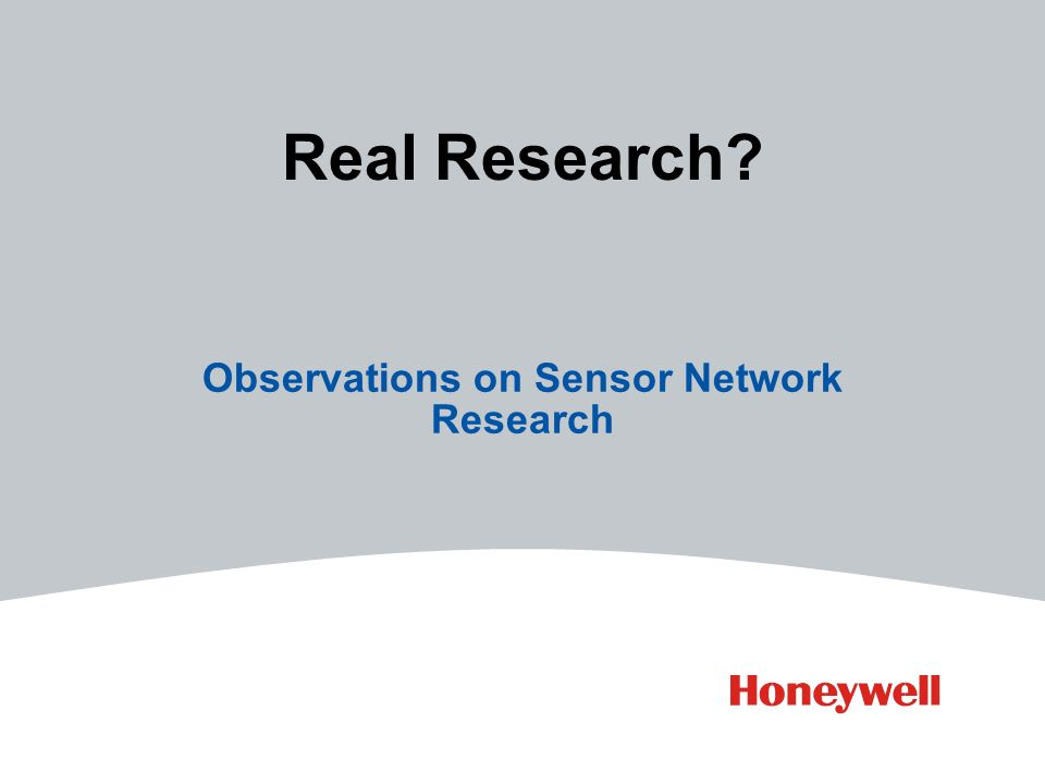 Real Research Observations on Sensor Network Research