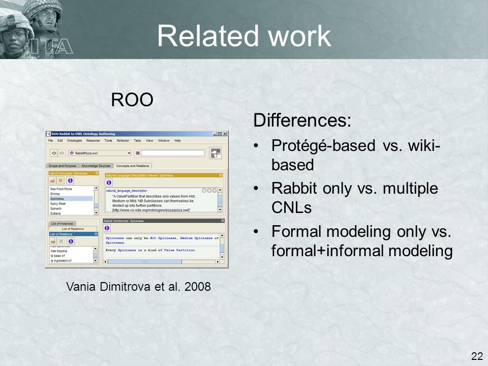 Related work ROO 22 Vania Dimitrova et al. 2008 Differences: Protégé-based vs. wiki- based Rabbit only vs. multiple CNLs Formal modeling only vs. form