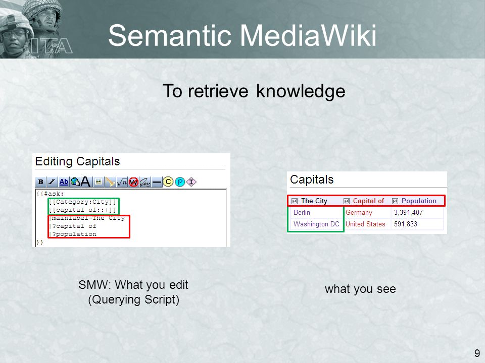 Semantic MediaWiki 9 SMW: What you edit (Querying Script) what you see To retrieve knowledge